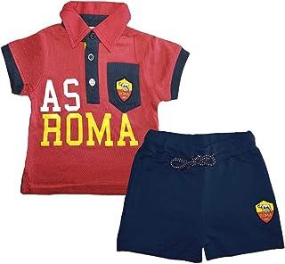 13708 AS Roma Body Neonato Mezza Manica in Cotone bavetta Prodotto Ufficiale Art
