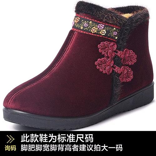 HBDLH Chaussures pour Femmes Les Vieux Beijing Tissu Coton Chaussures Chaussures d'hiver épaisse Semelle Souple du Daim National Chaussures des Chaussures Antidérapantes Coton