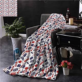 SSKJTC London Sofa Throw Blanket Double-Sided Printing United Kingdom Country Dorm Bed Baby Cot Traveling Picnic W70 xL84