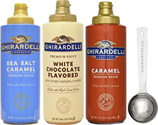 Ghirardelli - Sea Salt Caramel, White Chocolate and Caramel Flavored Sauce (Set of 3) - with Limited Edition Measuring Spoon