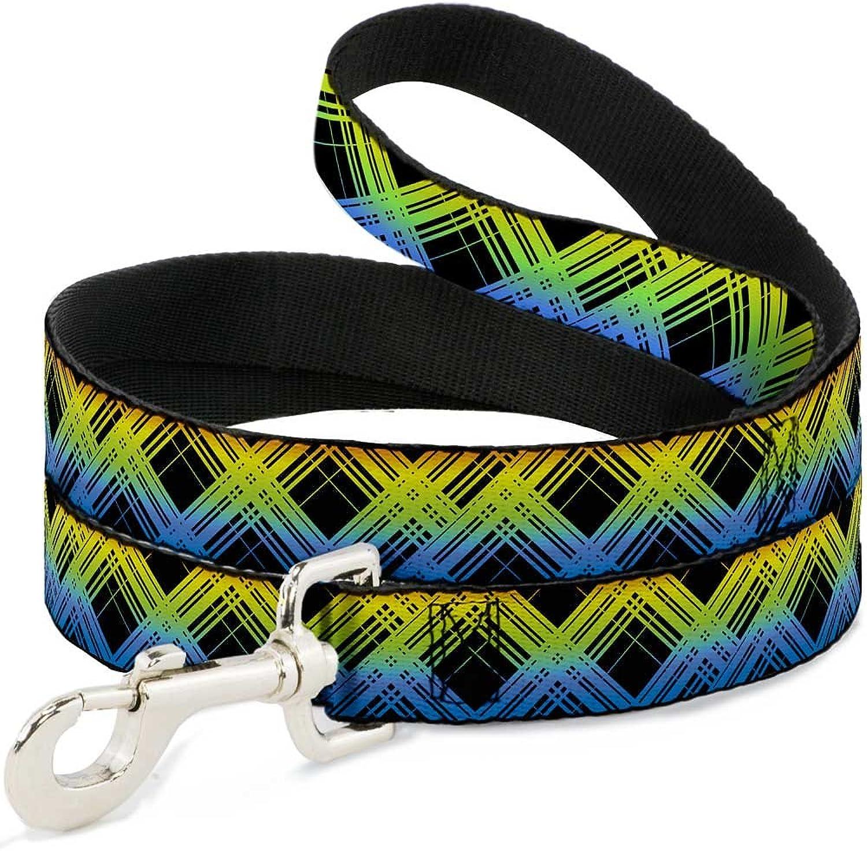BuckleDown DLW31670N Narrow 0.5  Plaid X Gradient Black orange Green bluee Dog Leash, 4'
