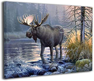 Houstonman Moose Wildness Lake Forest Landscape Canvas Wall Art Home Decorations Oil Paintings for Bedroom Living Room Kitchen 20 X 16 Inches Ready to Hang