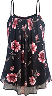 Anmery Women's Summer Sleeveless Pleated Front Chiffon Blouse Loose Layered Tunic Tank Tops