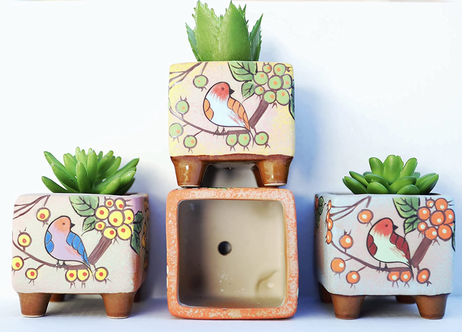 3 Inch Plant Ceramic Pots with Drainage Hole Best Gift for Women, Mom and Aunt and for Decoring Home Office and Garden - Set of 3 (Light Blue, Yellow, Pink)