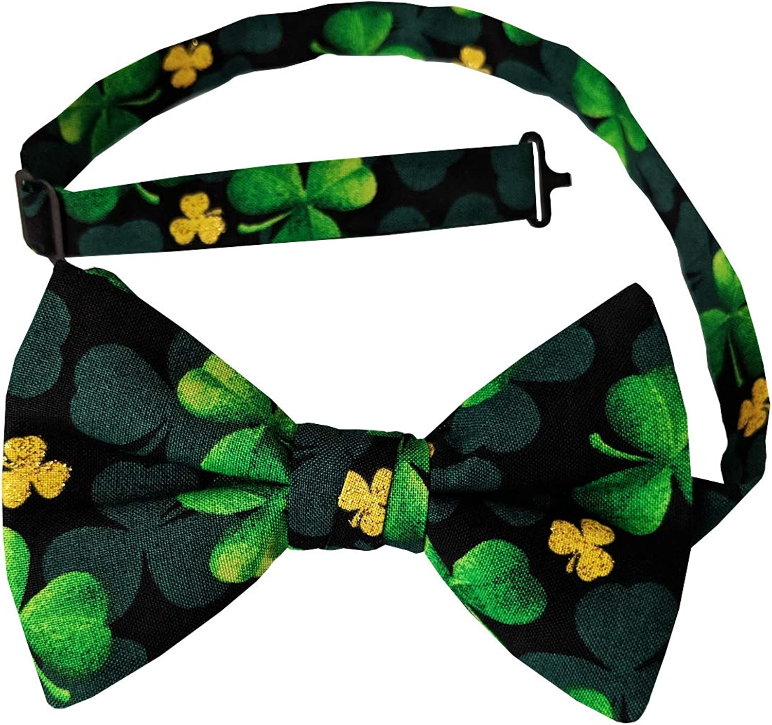 Holiday Bow Ties Mens Shamrock Bow Tie Black and Green with Gold Metallic
