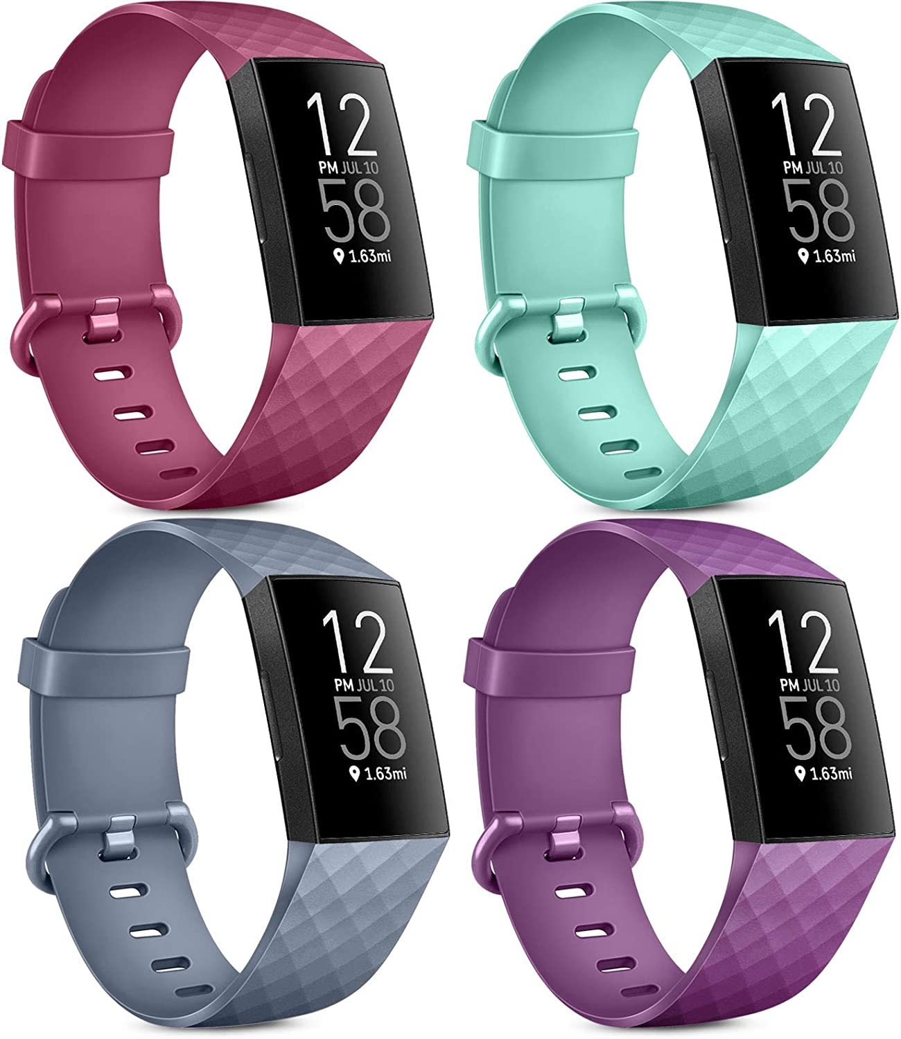 Pack 4 Silicone Bands for Fitbit Charge 4 / Fitbit Charge 3 / Charge 3 SE Soft WaterproofReplacement Wristbands for Women Men (No Tracker)(Small,Blue Grey+Wine Red+Purple+Mint Green)