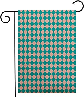 Creative Home Garden Flag Geometrical Vintage Retro 50s 60s Inspired Kitchen Tiles in Diamond Shapes Print Decorative Turquoise and Lilac Garden Flag Waterproof for Party Holiday Home Garden Decor