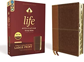NIV, Life Application Study Bible, Third Edition, Large Print, Leathersoft, Brown, Red Letter, Thumb Indexed