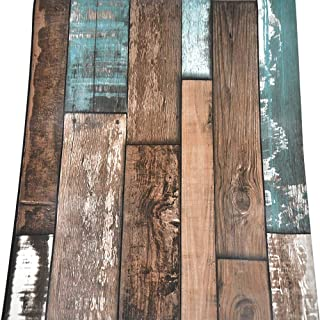 """Barn Wood Wallpaper, H2MTOOL Removable Dark Wood Gain Contact Paper Peel and Stick (17.7"""" x 78.7"""", Brown + Blue)"""