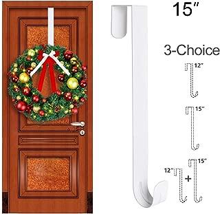 GameXcel Wreath Hanger Over The Door - Large Wreath Metal Hook for Christmas Wreath Front Door Hanger 15
