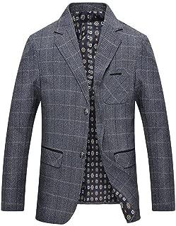 Men's Herringbone Wool Blazer Jacket 2 Button Casual Working Suit Jacket
