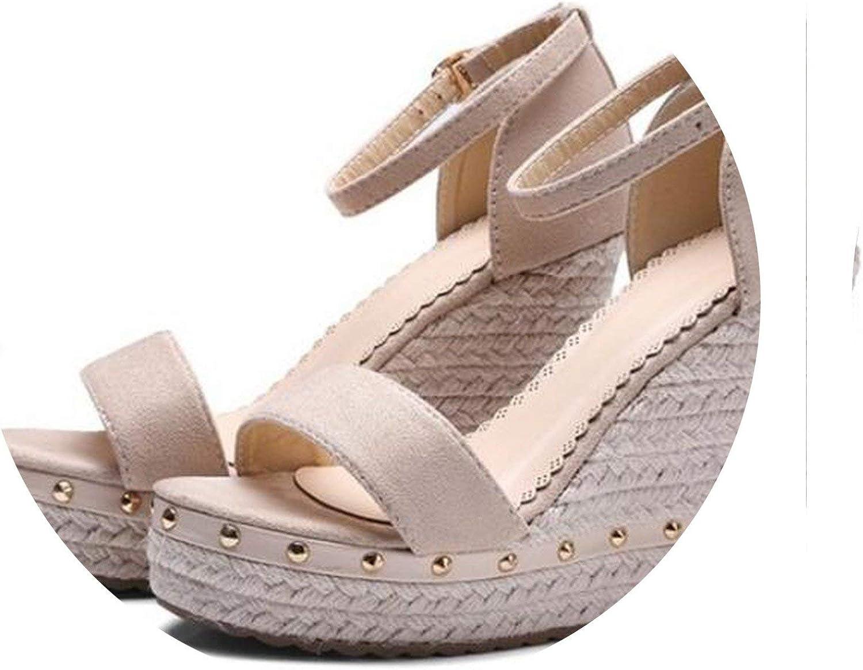 Pleasantlyday Women Sandals Summer Platform High Heels Strap Rivet Casual Footwear