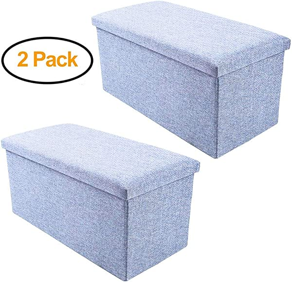 ENINFUT 2 Pack Storage Ottoman Polyester Folding Stool Foot Rest Seat Footstool Clutter Toys Collection 16 X10 X10 2 Pack Sky Blue