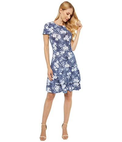 MICHAEL Michael Kors Bleached Out Floral Double Tier Dress (Chambray) Women