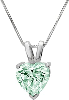 """0.45 ct Brilliant Heart Cut Davidsonite Mint Green Nano Simulated diamond Cubic Zirconia Ideal VVS1 D Solitaire Pendant Necklace With 16"""" Gold Chain box Solid Real 14k White Gold"""
