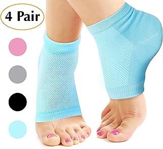 Nado Care Moisturizing Socks Lotion Gel for Dry Cracked Heels 4 Pack, Spa Gel Socks Humectant Moisturizer Heel Balm Foot Treatment Care Heel Softener Compression Cotton - Pink, Blue, Grey and Black