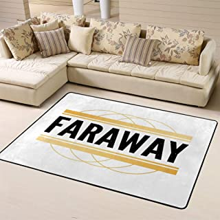 Area Rug Non-Slip Backing Floor Carpet Slogan Faraway Fashionfor Living Room Bedroom Kids Room 60