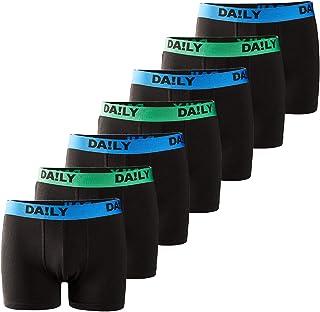 Da!ly Underwear - Boxer da uomo Basic Retro Trunks, confezione da 7 pezzi, con fascia in vita colorata, 95% cotone, taglie...
