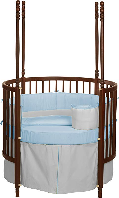 Baby Doll Bedding Solid Reversible Round Crib Bedding Set Grey Blue