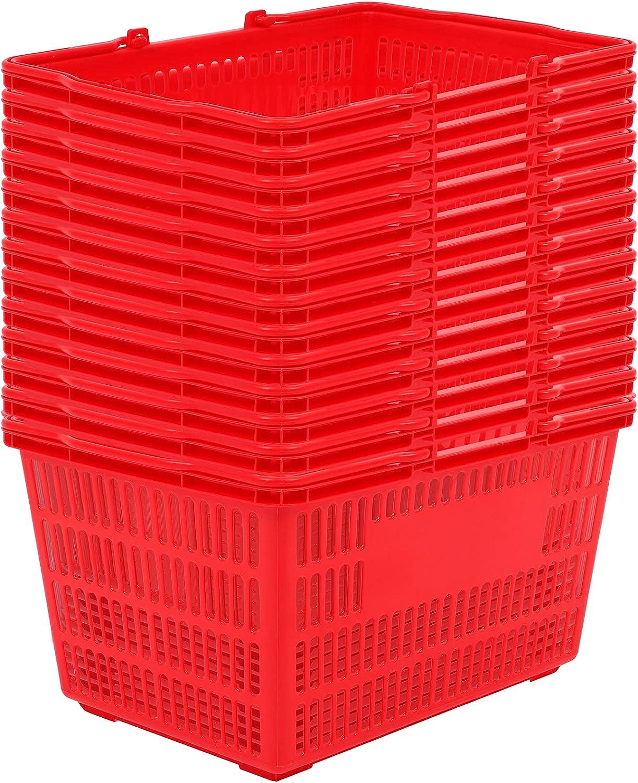 25L Shopping Great interest Basket Set of Red free Durable Baske 12 Plastic