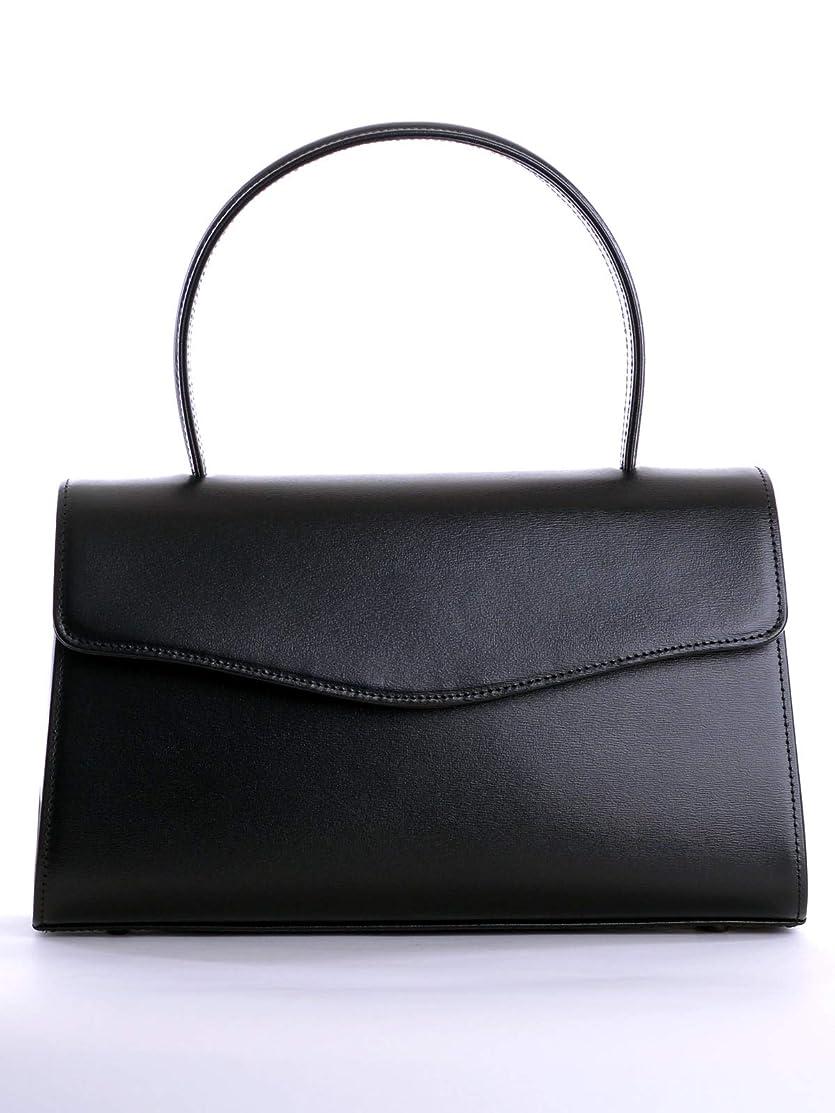 まとめる栄光の矢じりB品返品不可 aurora 本革ブラックフォーマルバッグ 定番ワイド黒レザー 日本製