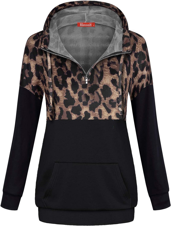 Blevonh Women 1/4 Zipper Hoodies Color Block Print Pocket Pullover Sweatshirt