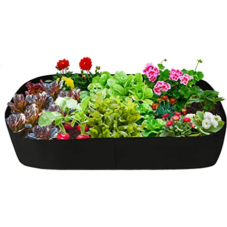 AOJIE 2 Pack Rectangle Raised Garden Planter Fabric Bed,Breathable Planting Container Plant Grow Bags,Non-Woven Aeration Fabric Pots with Handles for Flowers Vegetables Plants,2ft x 2ft