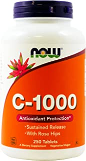 Now Foods, C-1000 ,Now Foods Vitamin C-1000 Sustained Release with Rose Hips, 250 Tablets