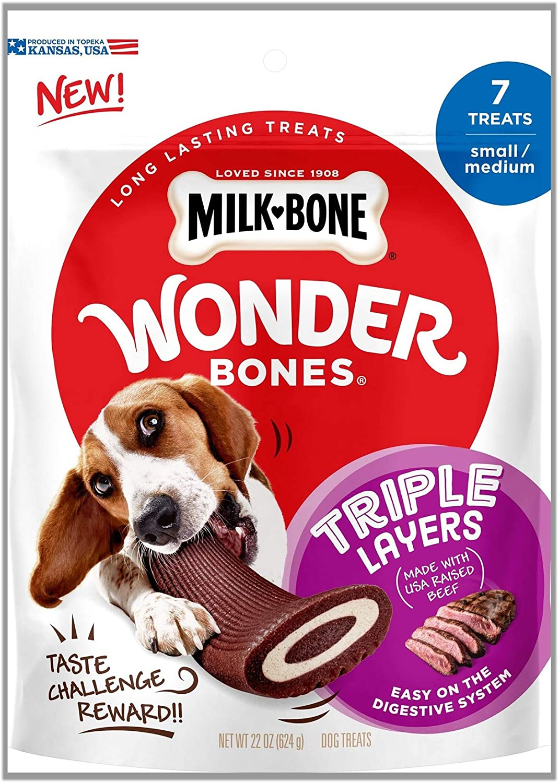 Milk-Bone Wonder Bones Long Lasting Dog Real M Treats Made with Daily bargain sale Direct stock discount