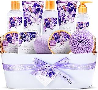 Geschenkset für Frauen- Body&Earth 12Pcs Bad Set mit Lavendel Duft, Enthält Duschgel, Schaumbad, Body Lotion, Körperbutte...