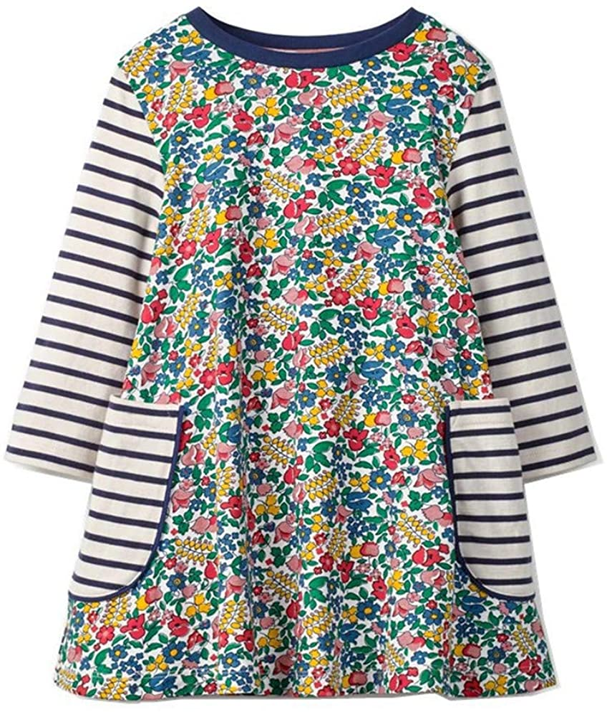 HILEELANG Toddler High order Girl Dress Stripe Max 74% OFF Long Sleeve Co Winter Autumn