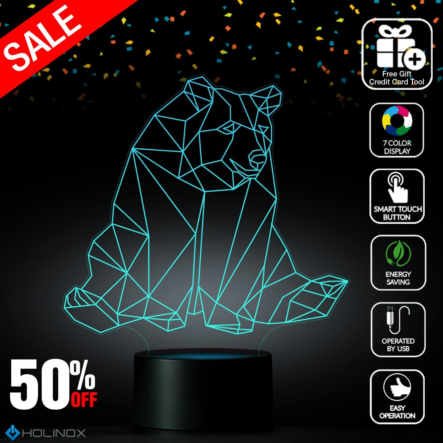 Geometric Bear, Lighting Decor Gadget Lamp, Best Christmas Gift, Nightlight Decoration lamp, 7 color Mode, Awesome gifts(MT222)