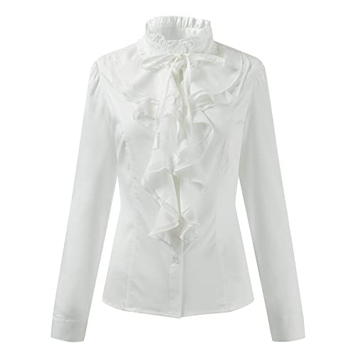 226cb70843d73 Ourlove Fashion Women Stand-Up Collar Lotus Ruffle Shirts Vintage Victoria  Long Sleeve Blouse (