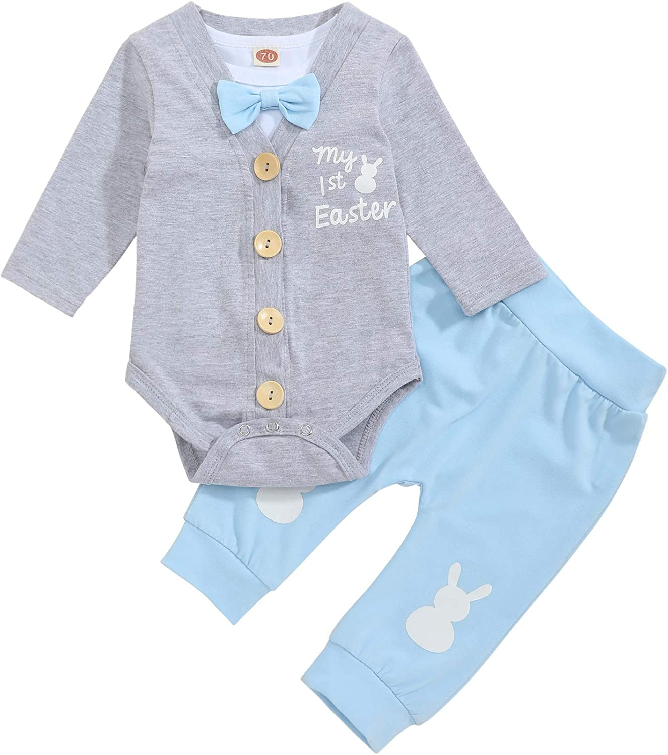 TUEMOS Newborn Infant Baby Boy Easter Clothes Gentleman Romper with Bow-Tie+Coat+Bunny Pants Baby Boy My First Easter Outfits