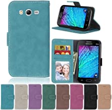 Galaxy I9060 I9082 I9080 Case,XYX [Blue][Scrub Series] PU Leather Flip Folio Kickstand Wallet Case with Card Slots for Samsung Galaxy Grand Neo Plus Lite I9060