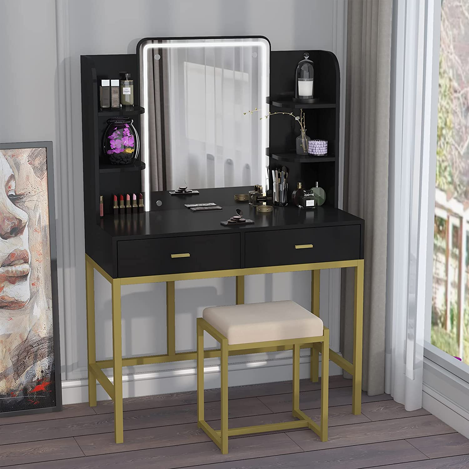 AOUSTHOP Vanity Set Fashionable with Makeup Al sold out. Dressing Mirror Lighted