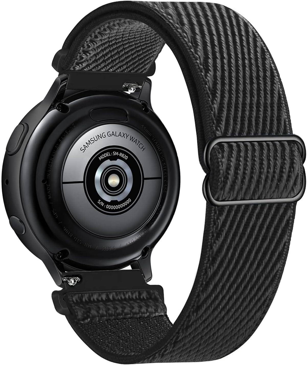 Lobnhot 22mm Solo Loop Compatible con Correa de Reloj de Samsung Galaxy Watch 3(45mm/44mm)/Watch 46mm/Gear S3 Classic/Frontier,Nylon Elástico Ajustables (22mm-Negro)