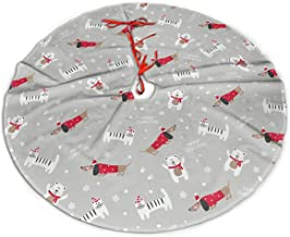 Merry Christmas Tree Skirt 48 Inch Dog Paw Panda Snowflake Xmas Holiday Party Supplies Large Tree Mat Decor for Indoor Out...