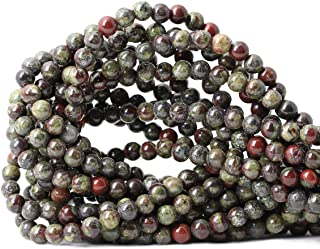 Qiwan 60PCS 6mm Natural Dragon Blood Jasper Gemstone Gem Round Loose Beads for Jewelry Making 1 Strand 15