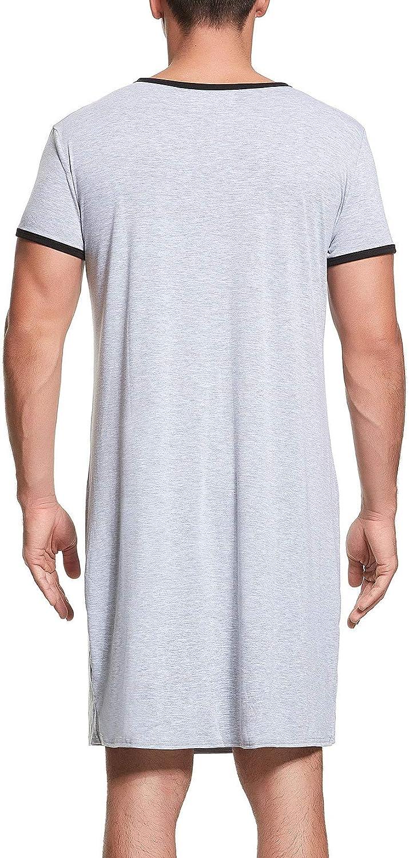 Lu's Chic Men's Nightshirt Short Sleeve Nightgown Henley Sleep Gowns Nightwear for Sleeping