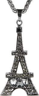styleBREAKER Collar con Torre Eiffel como Colgante Macizo, Piedras de estrás y Cadena Trenzada, bisutería de señora 05030007