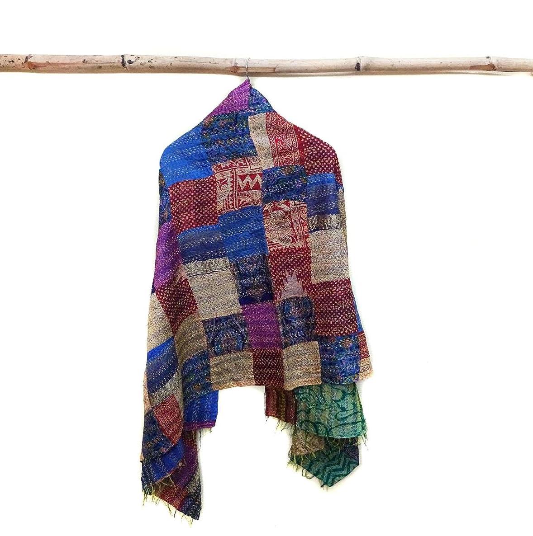 Silk Kantha Scarf patchwork Neck Wrap Stole Dupatta Hand Quilted Women Gypsy