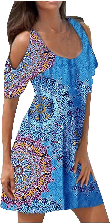 Summer Dresses for Women Vintage Flower Graphic Print Sundress Cold Shoulder Cocktail Dress Short Sleeve Midi Skirt