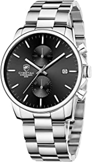 Fashion Business Mens Watches with Stainless Steel Waterproof Chronograph Quartz Watch for Men, Auto Date