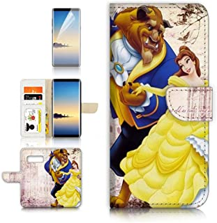 (for Samsung S10+ / Galaxy S10 Plus) Flip Wallet Case Cover & Screen Protector Bundle - A21020 Beauty and Beast