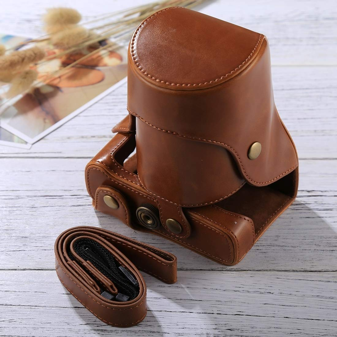 YANTAIANJANE Camera Accessories Full Body Camera PU Leather Case Bag with Strap for FUJIFILM X-E3 Color : Brown Black 18-55mm // XF 23mm Lens