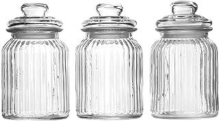 Vintage lufttäta glasburkar - Set med 3   Traditionella förvaringsbehållare för söta burkar   Konservering av köksburkar  ...