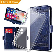 ZXLZKQ Wallet Case + 3 x Tempered Glass Screen Protector for Vodafone Smart N8 (5.0