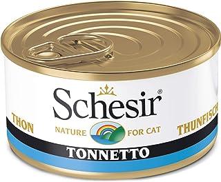Schesir, Comida Húmeda para Gatos adultos, sabor bacoreta, filetes y gelatina blanda - Total 2 kg (24 latas monodosis x 85...