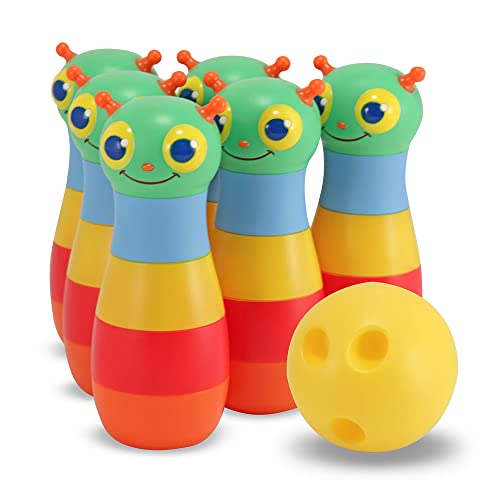Twiddlers The 6-Pin Plush Bowling Game Toy Set Fun Baby Toddlers Kids Motor Skills Balance and Hand-Eye Coordination Soft Animal Skittles with Ball